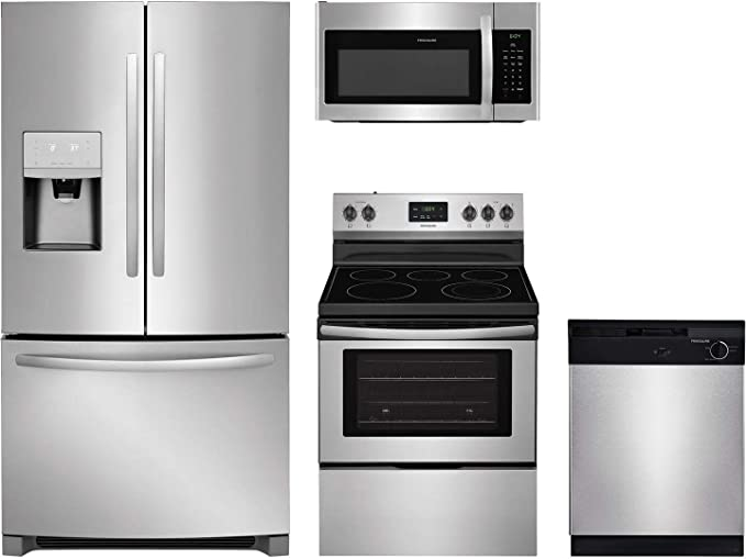 Amazon Com Frigidaire 4 Piece Kitchen Appliance Package With Ffhb2750ts 36 French Door Refrigerator Ffef3052ts 30 Freestanding Electric Range Ffmv1645ts 30 Over The Range Microwave And Fbd2400ks 24 Full Console Dishwasher In Stainless Steel