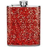 Kühle rote Glitter-Pailletten im Freien beweglicher Edelstahl-auslaufsicherer Alkohol-Whisky-Alkohol-Wein-Topf-Flachmann