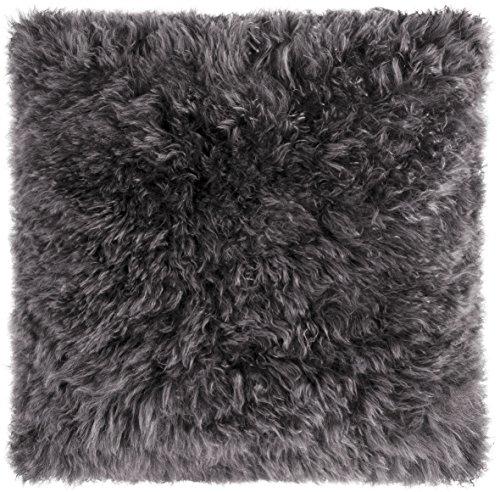 MAGMA Cashmere Kisenhülle aus echtem Kaschmirfell, kuscheliges Echtfell-Kissen Heimtex, ca. 40x40cm, aus Kaschmir, Kuschelkissen (Anthrazit)