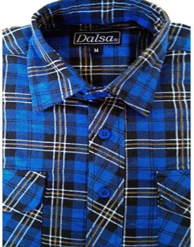 Dalsa, camicie da lavoro da uomo, stile taglialegna, in flanella di cotone spazzolato, fantasia a quadri, a maniche lunghe Design 4 Medium