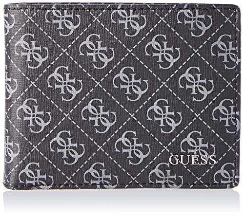 Guess Herren Manhattan Logo Geldbörse, Schwarz (Black), 4x9.8x12.4 centimeters