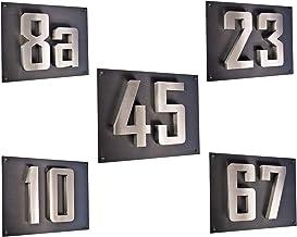 Huisnummer 3D roestvrij staal V2A huisnummerbord huisbord (N.D.) incl. Acryplaat 35cm x 28cm in diamant-antraciet