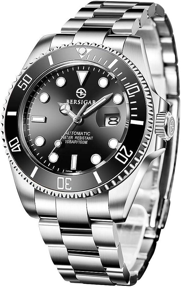 BERSIGAR Mechanische Herrenuhren Automatic Divers beobachtet die analoge Automatik-Uhr der Männer mit Edelstahlband