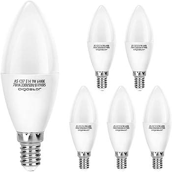Aigostar Pack de 5 Bombillas LED Vela E14 9W, 720 lúmenes Luz blanca fría 6400K, No regulable: Amazon.es: Hogar