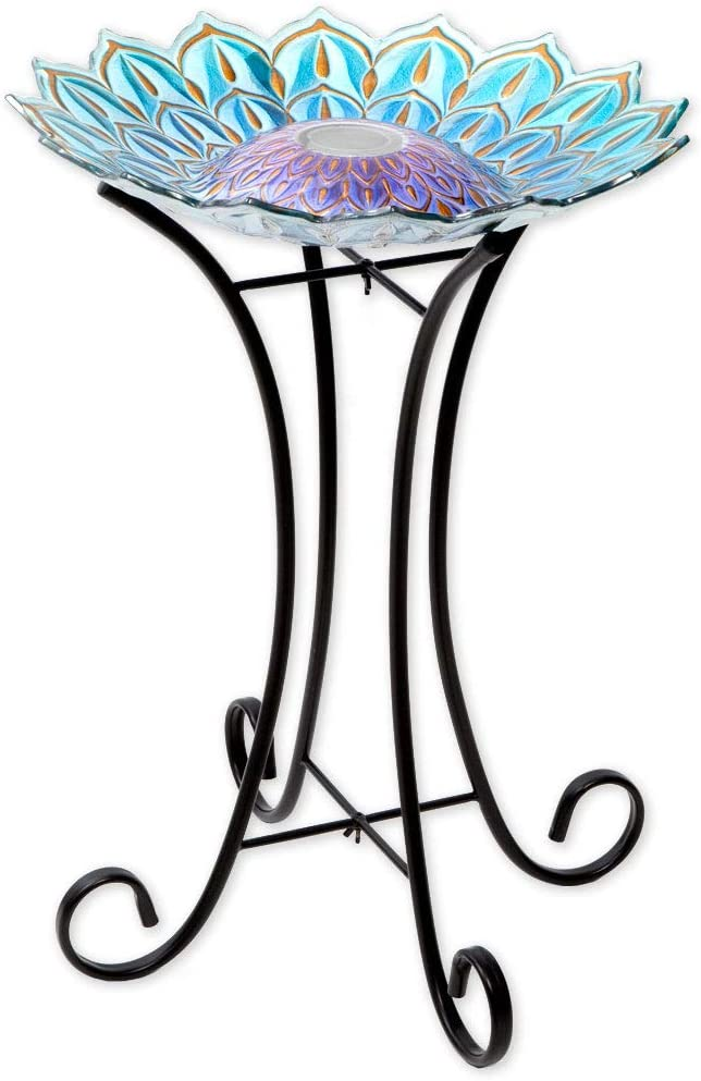 Bits and New Free Shipping Pieces - Solar Glass Statue Birdbath Stand with trend rank Metal