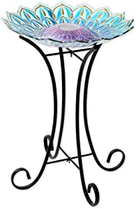 Bits and Pieces - Solar Glass Birdbath Statue with Metal Stand - Bird Bath Garden or Yard Décor Sculpture