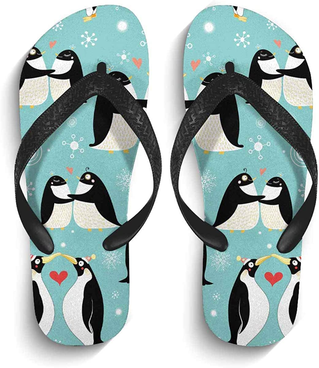 INTERESTPRINT Lightweight Flip Flop Slippers Cute Penguins Couple Non-Slip Thong Sandal Casual Footwear for Men XL