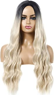 ENO BEAUTY 27 Inches Long Wavy back to linen gold Wig Synthetic Wigs for Women Natural Wave Heat Resistant back to flax go...