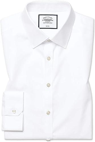 Chemise Blanche Super Slim Fit En Twill Sans Repassage   Blanc (Poignet Simple)   16.5   35