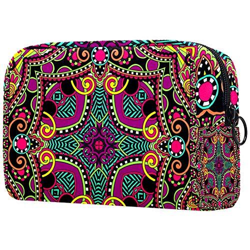 Sac à maquillage portable avec motif mandala carré, sac à cosmétiques, sac à cosmétiques pour femmes de voyage