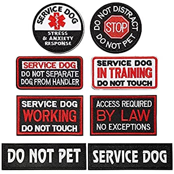 8 Pieces Service Dog Patch with Hook and Loop Fastener Training Working Patch Stress Anxiety Response Patch Set Embroidered Dog Patches