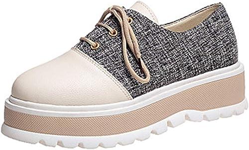 TTchaussures Femme Chaussures Polyuréthane Printemps été Confort Basket Marche Creepers Bout Rond Noir Kaki,noir,US5.5 EU36 UK3.5 CN35