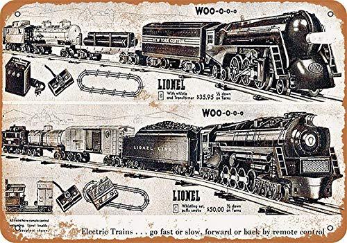 JOHUA Cartel de metal con diseño de trenes de juguete para decoración de pared