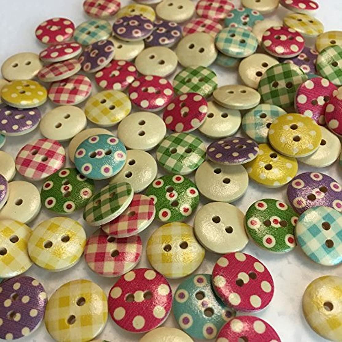 MySweetCastle 100pcs Mixed Wooden Button in Bulk Button for Crafts Button Round Colorful Painting Buttons 15mm