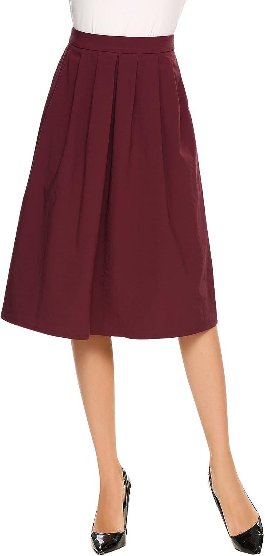 Vansop Women's High Elastic Waist Aline Flared Swing Midi Skirt with Pocket