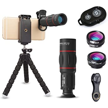 【ActyGo】 18X望遠レンズ付きスマホレンズ4点セット ワイヤレスリモコン くねくね三脚付き 198°魚眼 0.63X広角 15Xマクロ iphone/Android多機種対応