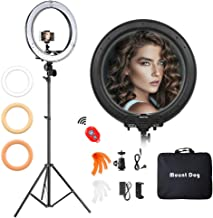 "18 Inch Ring Light with 79"" Tripod Stand,Mountdog Dimmable LED Ring Light with Rotatable Phone Holder, Bluetooth Remote Control Carrying Bag for YouTube, Live Streaming, Video Shooting, Make Up"