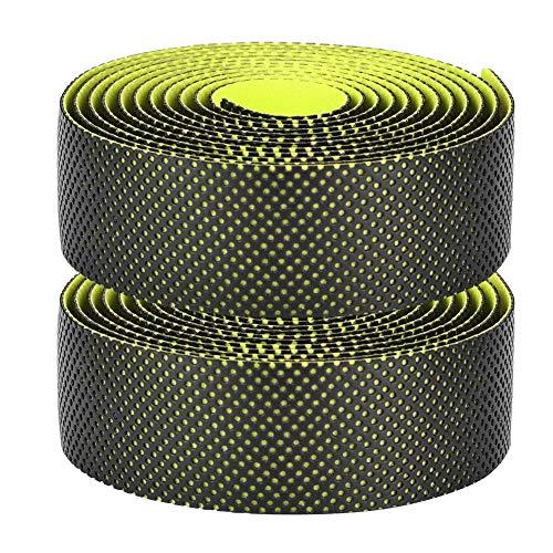 自転車バーテープ ハンドルバーテープ グリップテープ PU素材 ロードバイク用 防水 滑り止め 左右2個セット 耐摩耗 取り付けやすい(グリーン)