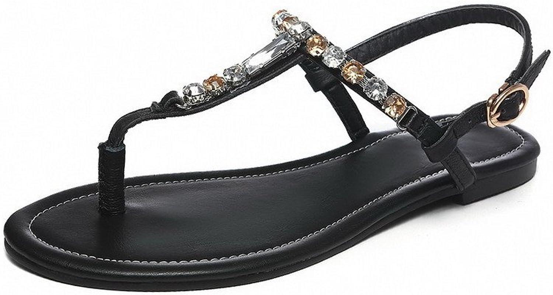 AmoonyFashion Women's Solid Soft Material No-Heel Buckle Split-Toe Sandals
