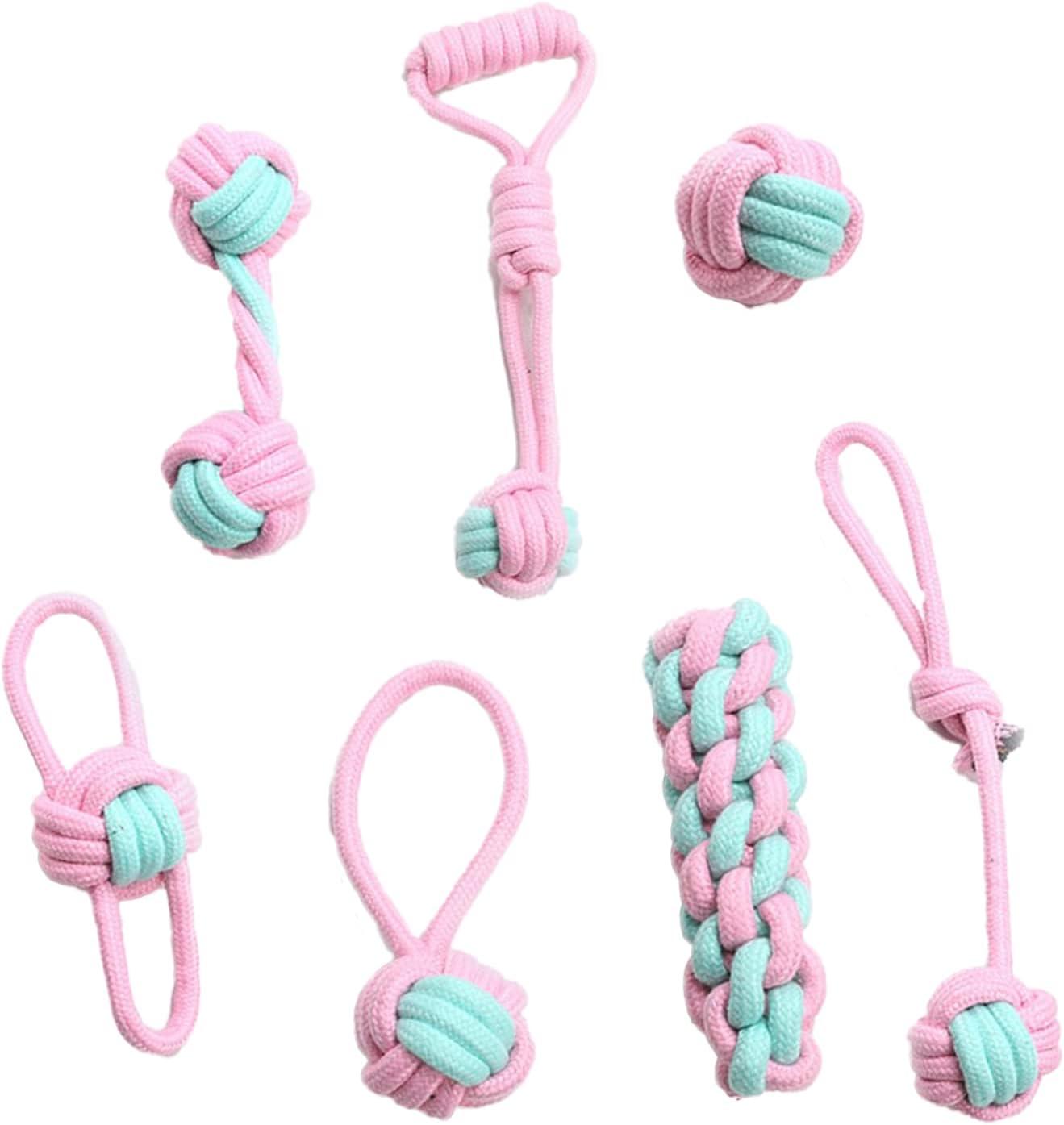 Japan's Popular popular largest assortment 7pcs Set Pet Dog Interactive Toy Cotton Woven Chewing Puppy