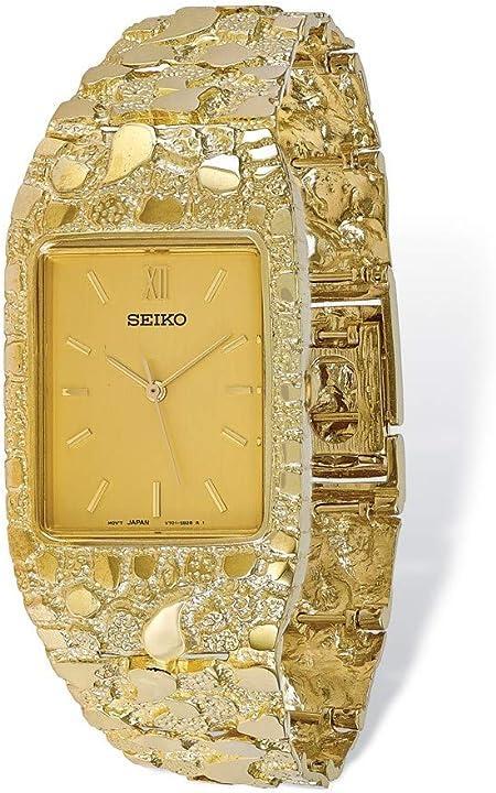Orologio donna in oro giallo 10k seiko champagne 27x47mm quadrante quadrato viso nugget orologio 8