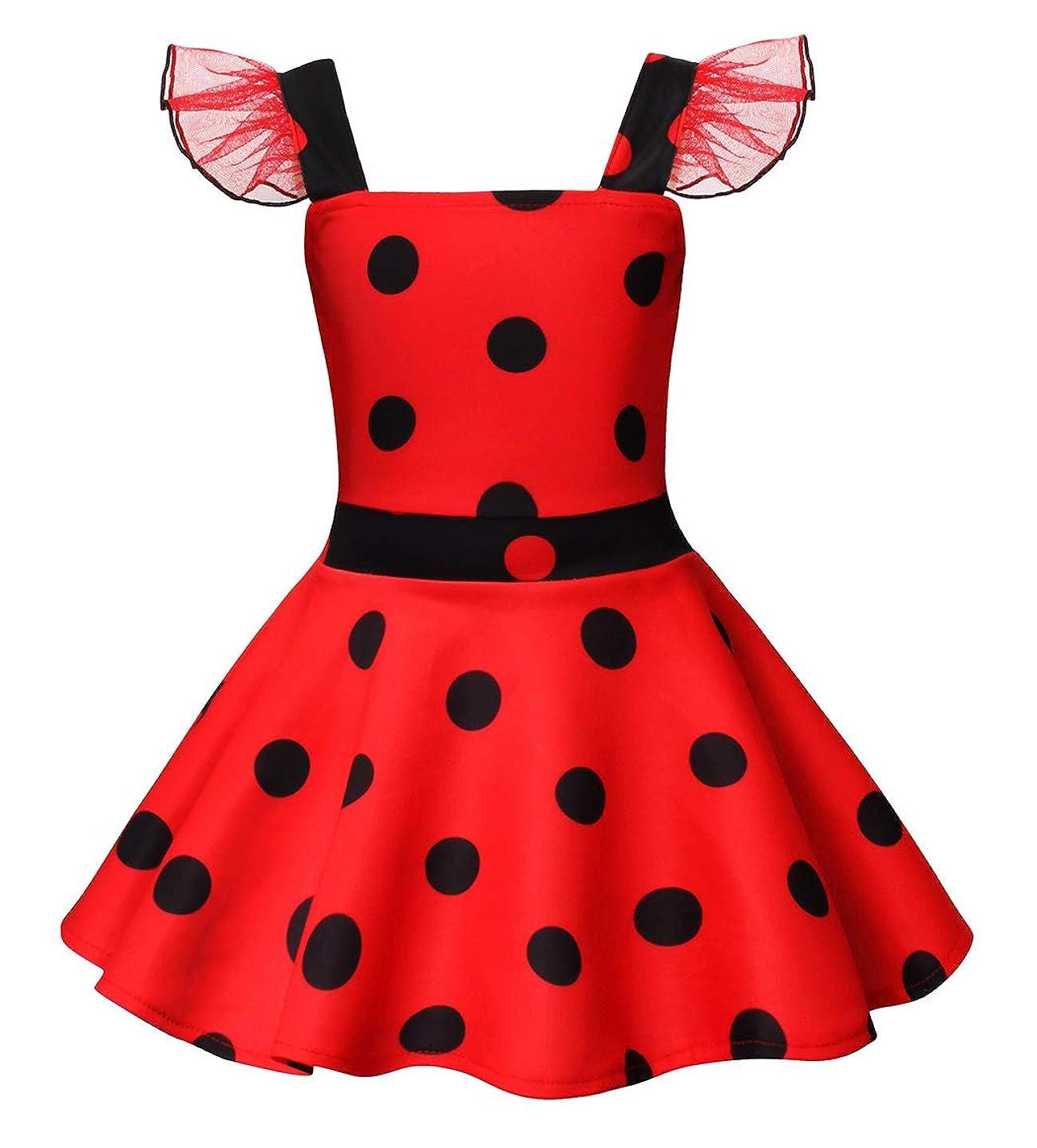HenzWorld Ladybug Costume Dress Girls Princess Birthday Party Polka Dots Cosplay Outfit
