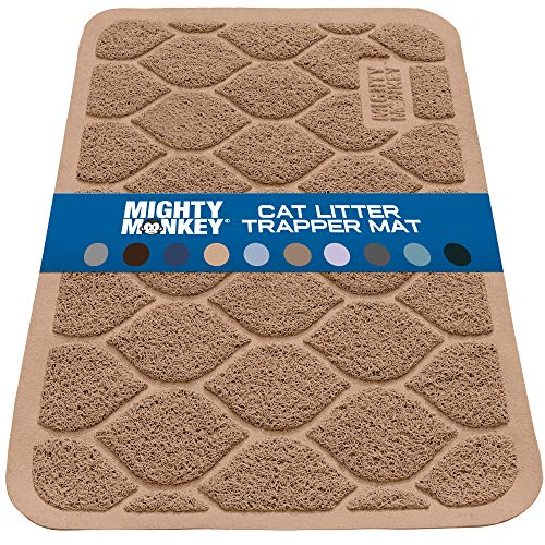 MIGHTY MONKEY Premium Cat Litter Trapping Mats, Phthalate Free, Best Scatter Control, Jumbo XL Sizes, 35 x23 inches, Mat Traps Litter, Easy Clean, Soft on Kitty Paws, Latte
