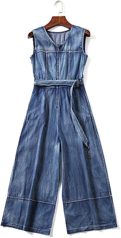 Denim Jumpsuit Female Summer High Waist was Thin Sleeveless NinePoint Wide Leg Jumpsuit (Size   M)