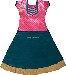 Pattu Pavadai Raw Silk Cotton Pavada Sattai Peacock Blue and Pink for Indian Baby Girls and Kids