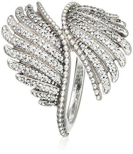 Anillo de brillantes con diseño de plumas de ave fénix Pandora 190960CZ de plata de ley 925 con circonitas de color blanco, para mujer.