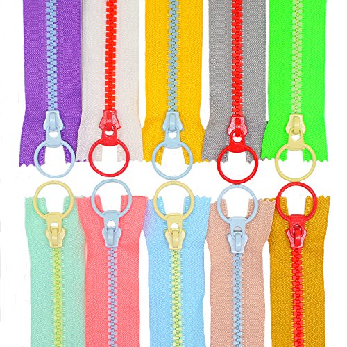 YaHoGa 10PCS 10 Inch (25CM) #5 Plastic Zippers with Lifting Ring Pull Close End Vislon Zippers for DIY Sewing Craft Bags Garment 10 Resin Zippers (25cm)