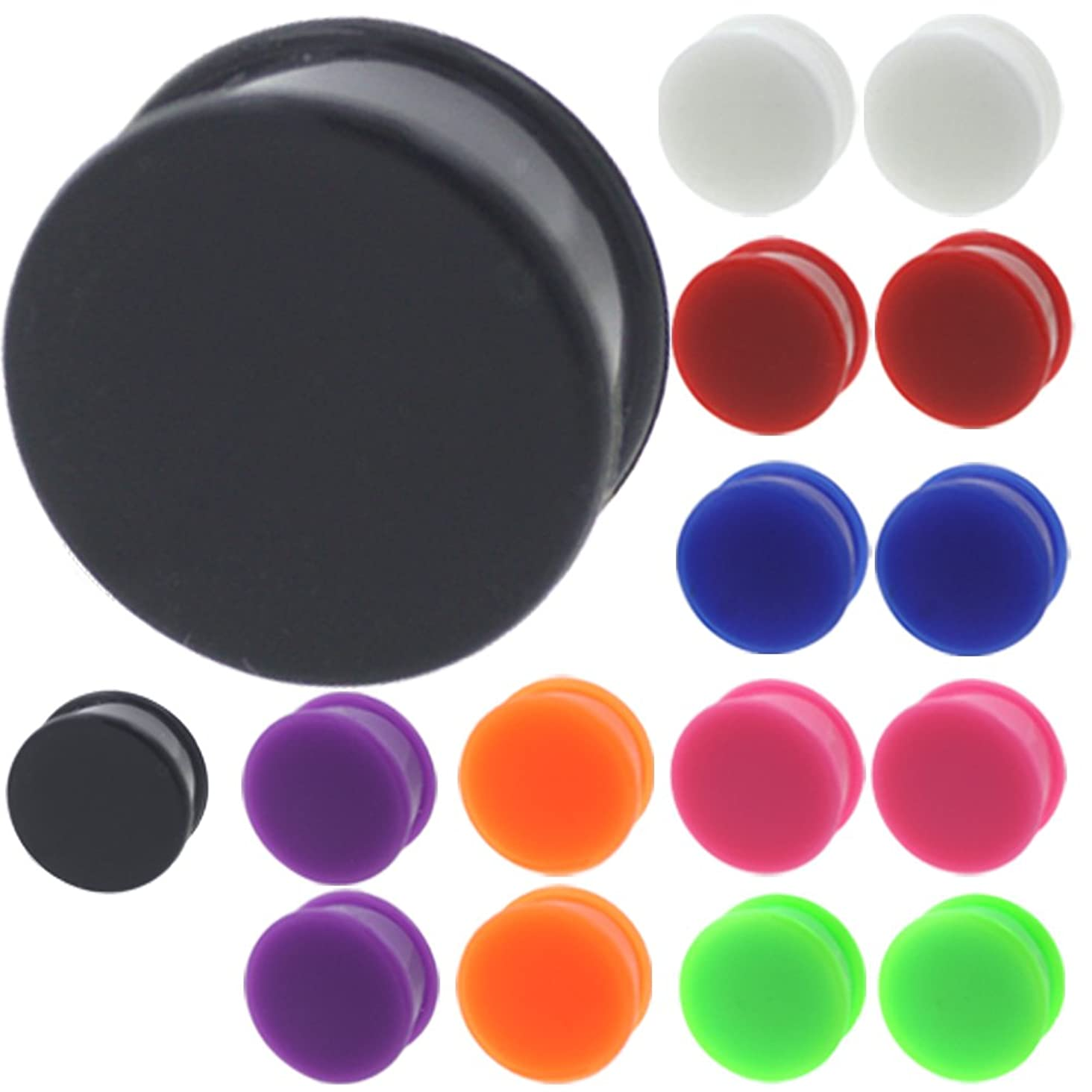 MoDTanOiz 16 Pieces of 3mm to 30mm Silicone Plugs Tunnels gauges Ear Plug Stretcher Black White Green Pink