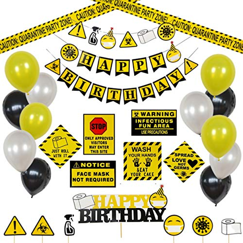 Quarantine Themed Party Supplies - Quarantine Party Decoration - birthday banner, signs, balloons, cake and cupcake toppers