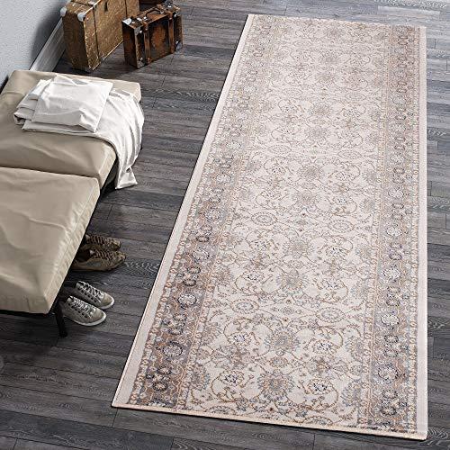 Carpeto Rugs Läufer Teppich Weiß Creme Orientalisch Flur Eingangsbereich Meterware - Teppichläufer in Viele Größen 70 x 600 cm