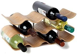 Lily's Home Countertop Wave Wine Rack, Wood, Elegant and Modern, Table Top Wine Storage (Oak, 11 Bottles)