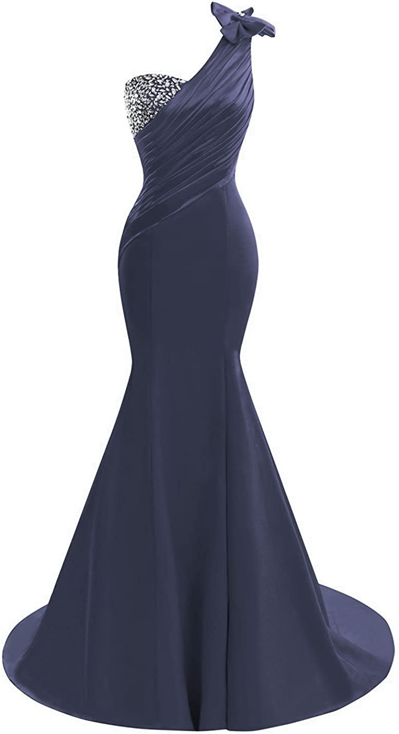 DINGZAN Vintage Mermaid Satin Prom Pageant Dress Bridesmaid Gown