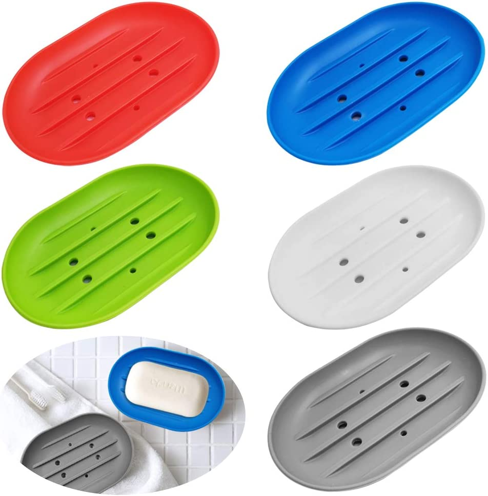 Miami Mall SENHAI 5 Pcs Flexible Today's only Silicone Soap Holder to Dishes Holes with