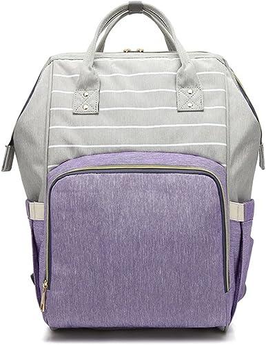 Ykzzldx New Stripe bébé sac à langer momie maternité sac à langer grande capacité bébé poussette sac voyage sac à dos