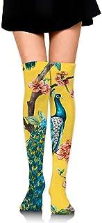 Calcetines largos de compresión para mujer, hasta la rodilla, diseño de pavo real en el árbol