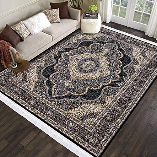 Renoazul Extra Large Rugs For Living Room Decor - 240 X 320 Cm (8 Ft X 10 Ft 7') - Anti Skid Non Slip Backing Washable Rug Full Bedroom Carpet Area Rugs for Nursery Decorations - Black