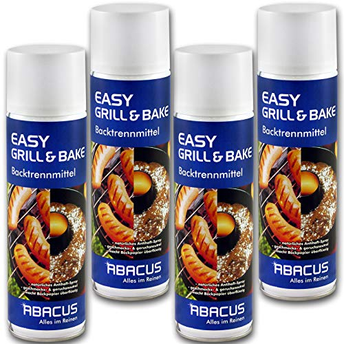EASY GRILL & BAKE 4x 500 ml (7334) - Backtrennmittel Spray Backtrenn-Mittel Antihaft Backpapierersatz Backpapier-Ersatz Waffeleisen Pfannen Formen Grillrost Brotbackmaschinen - ABACUS