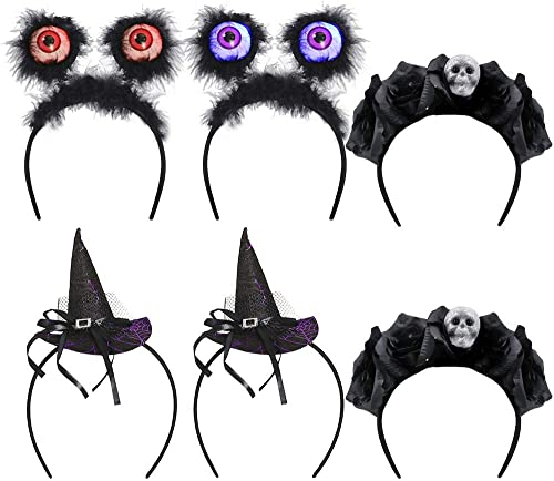 discount yosager 6 Pack Halloween Headbands Costume Dress up, Cute Lighted Hair Hoop Headwear Accessories, Light Up Color Changing Eyeball, Witch Hat, outlet online sale Skull, 2021 Cosplay Party Props Decoration online sale