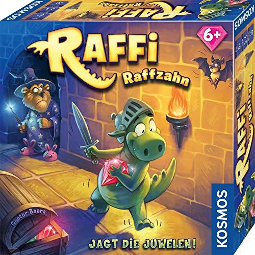 Kosmos 681036 Raffi Raffzahn - Jagt die Juwelen. Spannendes Kinder-Spiel mit magnetischer Drachen-Figur, Brett-Spiel ab 6 Jahre, für 2 -4 Spieler, lustiges Gesellschaftsspiel für die ganze Familie