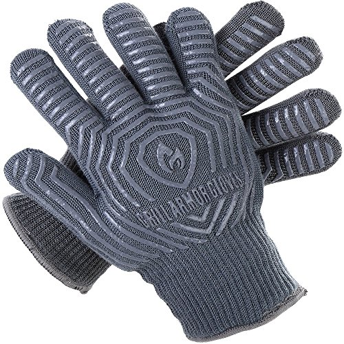 Grill Armor Extreme Heat Resistant Oven Gloves - EN407 Certified 500C - Cooking Gloves for BBQ, Grilling, Baking, Grey