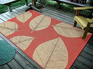 "Furnish my Place Design 0583 4'5 X7' Big Leaves, Indoor & Outdoor Area Rug-0583, 4'5""X7', Sunset Orange"