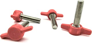 Red Thumb Screws with Large Rosette Fluted Rosette 1//4-28 x 1//2 Knurled Thumb Screw 4 SS Thumb Screws Red Thumbscrews Knurled Knob Screw 1//4-28 Thumbscrew