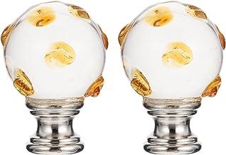 UKCOCO 2Pcs Crystal Glass Ball Lampenkap Top Schroef Knop Eindstukken Voor Vintage Rustieke Tafel Vloer Lampen Cover Brack...