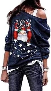 Macondoo Women Santa Long-Sleeve Xmas Plus Size Blouse Printed Top Sweatshirts