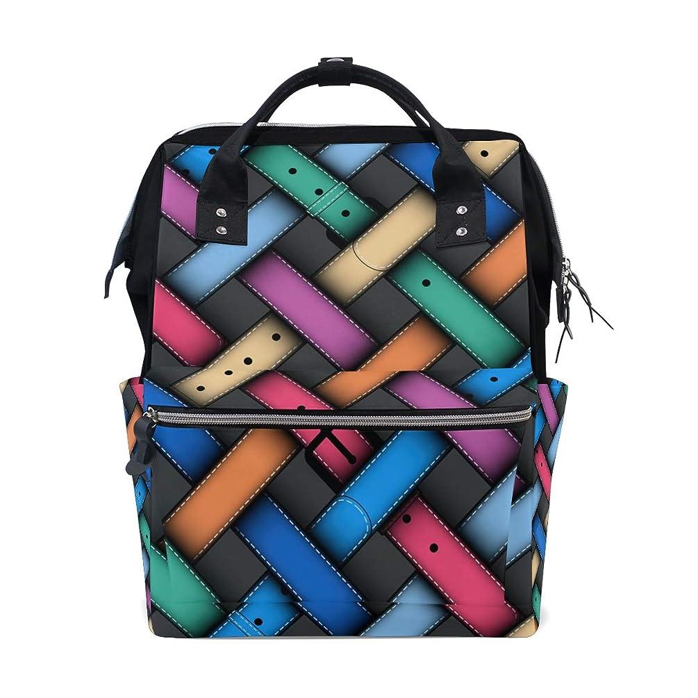 Colorful Belts Plaid Pattern School Backpack Large Capacity Mummy Bags Laptop Handbag Casual Travel Rucksack Satchel For Women Men Adult Teen Children