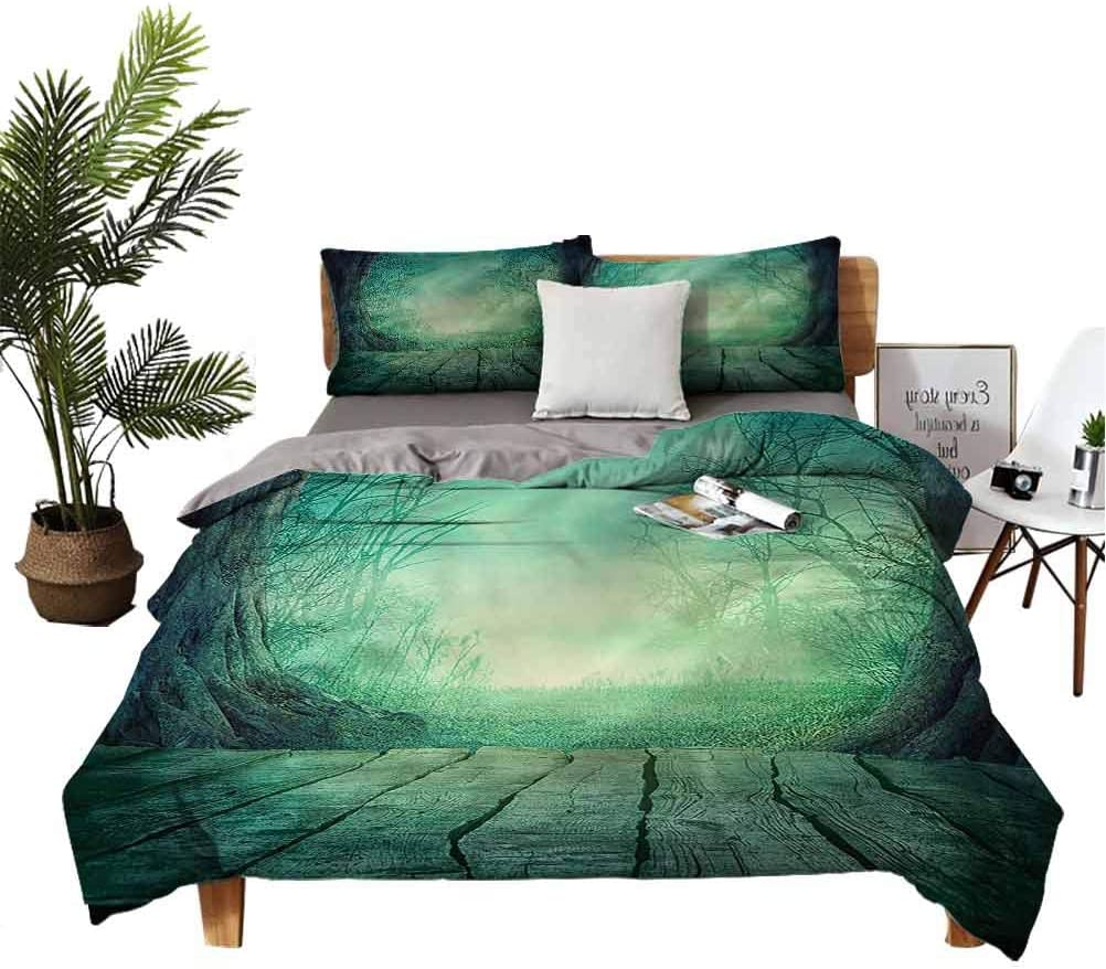 Gothic 3-Piece Bedsheets and shopping Fashion Pillowcases Forest Foggy with Dead